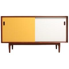 Midcentury Sideboard in Teak with Colored Panels by Arne Vodder