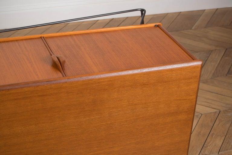 Minimalist & Organic Teak and steel sideboard - 1960 For Sale 13