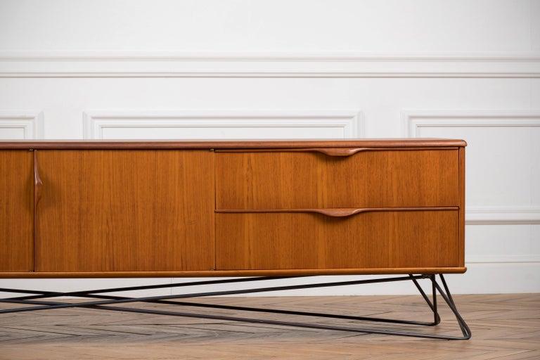 German Minimalist & Organic Teak and steel sideboard - 1960 For Sale