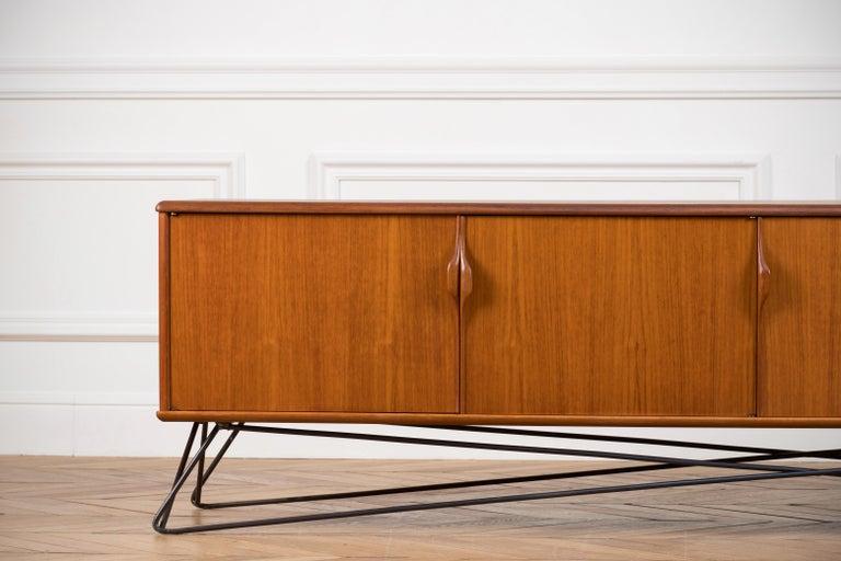 1960s Minimalist & Organic Teak and steel sideboard - 1960 For Sale