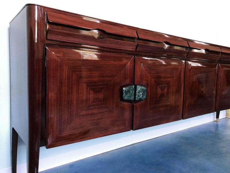 Midcentury Sideboard with Marble Handles by Vittorio Dassi, 1950s For Sale 2