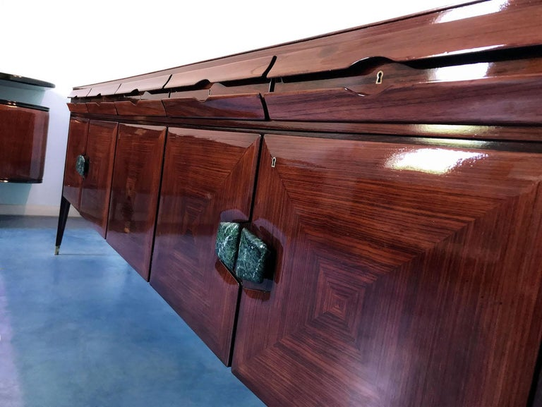 Midcentury Sideboard with Marble Handles by Vittorio Dassi, 1950s For Sale 4