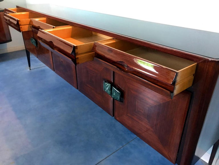 Midcentury Sideboard with Marble Handles by Vittorio Dassi, 1950s For Sale 5