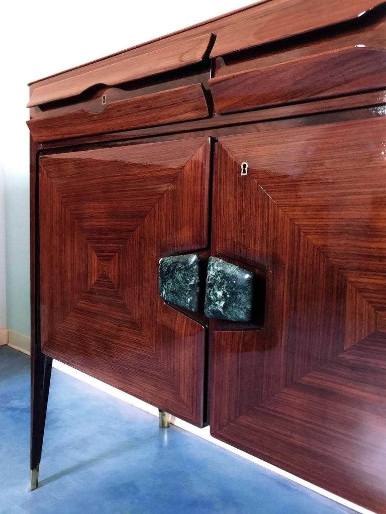 Midcentury Sideboard with Marble Handles by Vittorio Dassi, 1950s For Sale 7