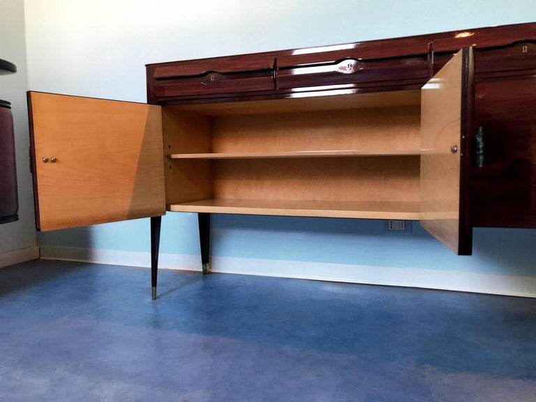 Midcentury Sideboard with Marble Handles by Vittorio Dassi, 1950s For Sale 10