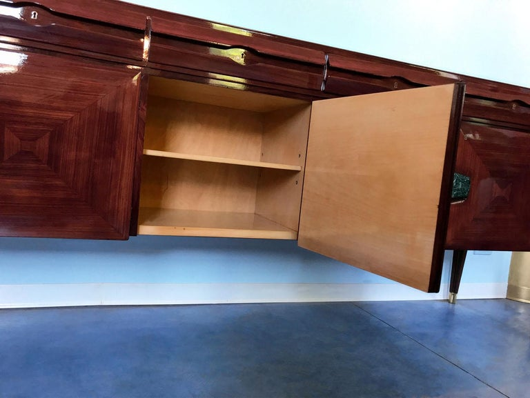 Midcentury Sideboard with Marble Handles by Vittorio Dassi, 1950s For Sale 11