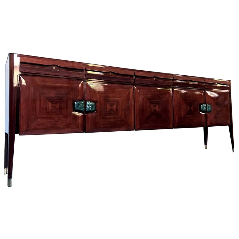 Stylish Italian Sideboard designed by Vittorio Dassi in the 1950s, finished with fine marble handles. It's in very good conditions of the period, it has been fully restored recently and now ready to use.