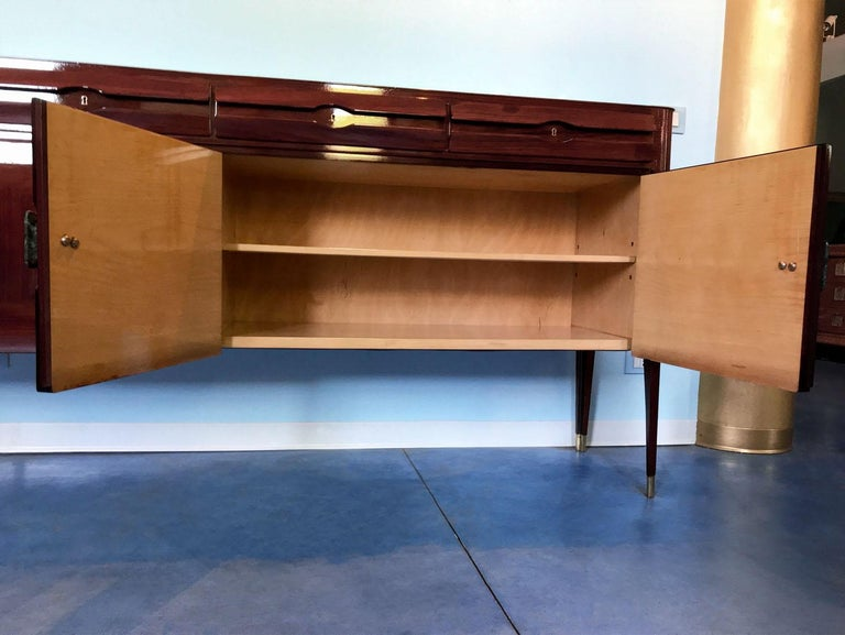 Midcentury Sideboard with Marble Handles by Vittorio Dassi, 1950s For Sale 12