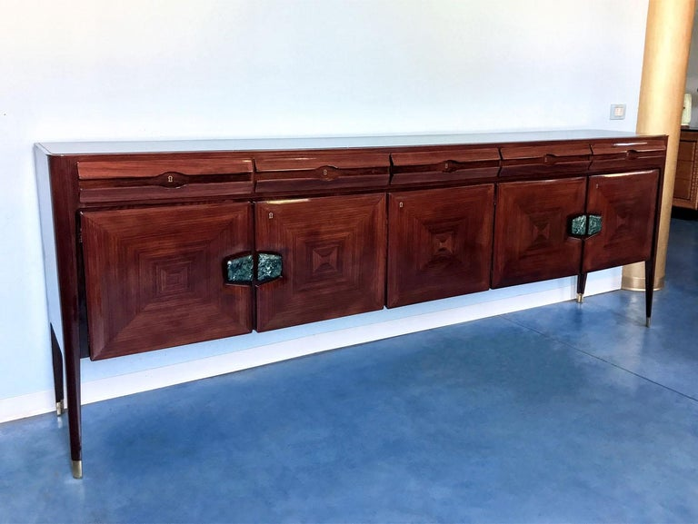 Mid-Century Modern Midcentury Sideboard with Marble Handles by Vittorio Dassi, 1950s For Sale
