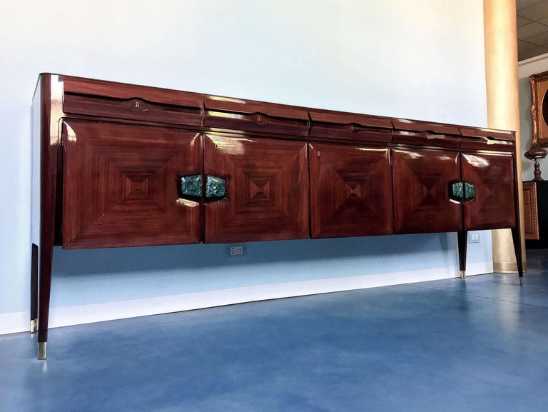 Mid-20th Century Midcentury Sideboard with Marble Handles by Vittorio Dassi, 1950s For Sale