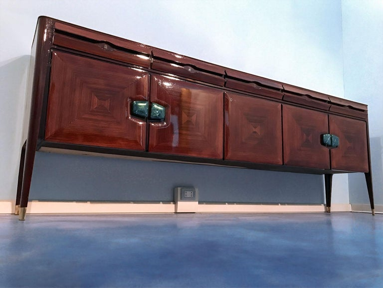 Midcentury Sideboard with Marble Handles by Vittorio Dassi, 1950s For Sale 1