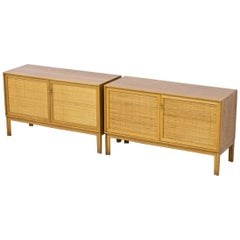 Midcentury Sideboards in Oak and Rattan by Alf Svensson, Sweden