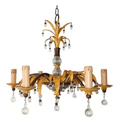 Midcentury Signed by Maison Baguès, Pineapple Palm, Yellow Chandelier