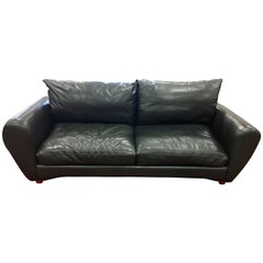 Midcentury Signed Thayer Coggins Milo Baughman Charcoal Gray Leather Sofa
