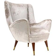 Midcentury Silver Velvet Italian Armchair, 1950s