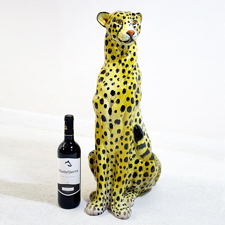 Mid-20th Century Midcentury Sitting Cheetah Made of Molded Ceramic, Marked X.MY For Sale