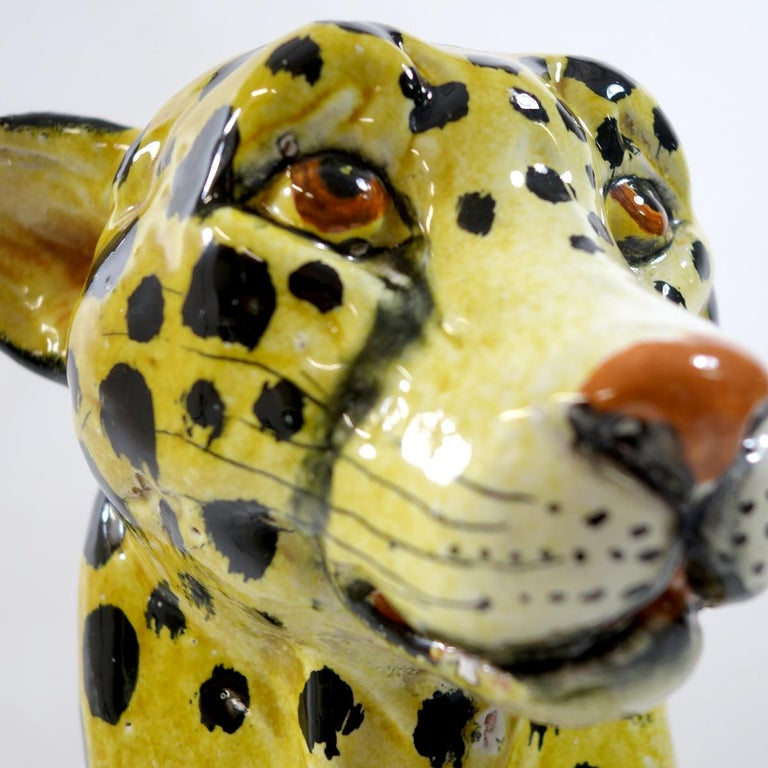 Midcentury Sitting Cheetah Made of Molded Ceramic, Marked X.MY For Sale 1