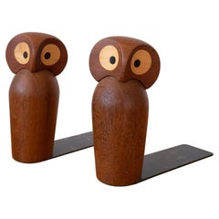 Midcentury Skjode Skjern Teak Owl Bookends from Denmark