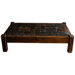 Midcentury Slate Coffee Table from France, 1950s