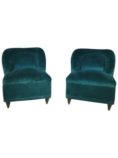 Midcentury Small Armchairs by Gio Ponti, in Wood and Smooth Velvet, 1950s