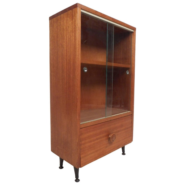 Midcentury Small Walnut Bookshelf or Cabinet For Sale