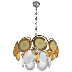 Midcentury Smoked Citrine and White Murano Glass Chandelier Vistosi Attributed