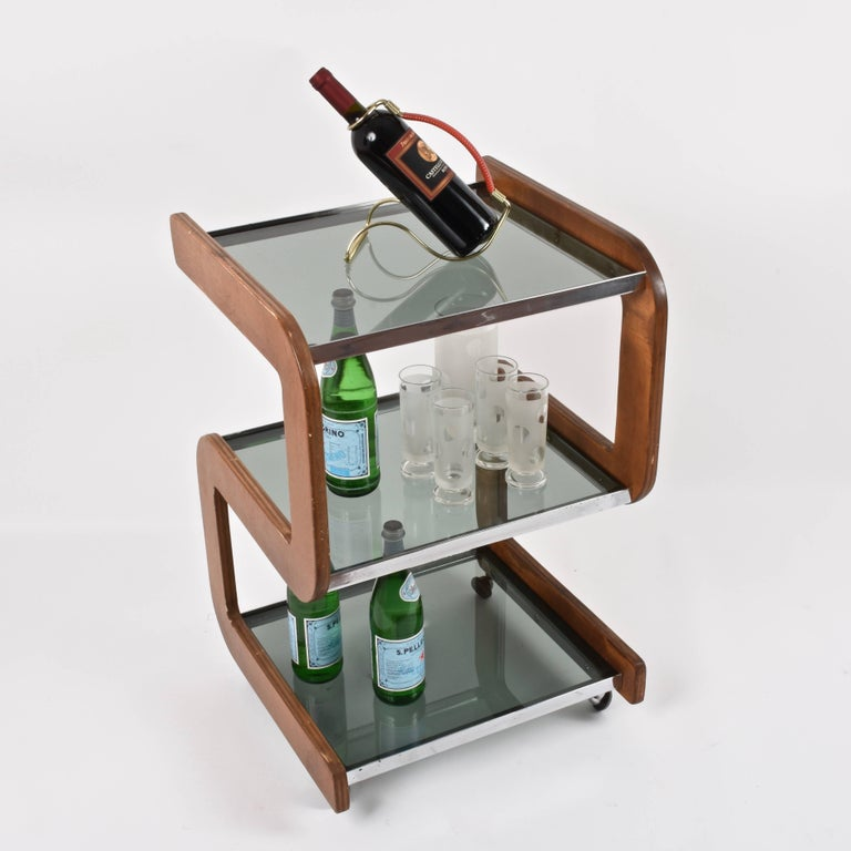 Midcentury Smoked Glass Shelves, Steel and Wood Italian Bar Trolley, 1970s For Sale 5