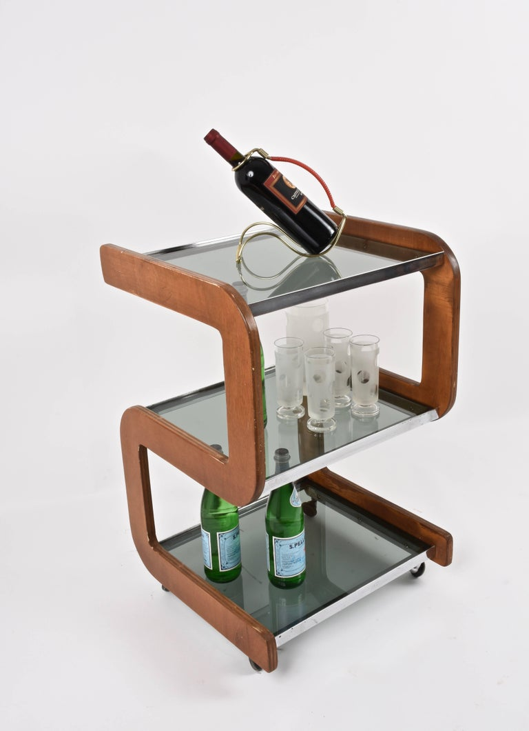 Midcentury Smoked Glass Shelves, Steel and Wood Italian Bar Trolley, 1970s For Sale 6