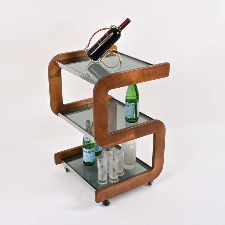 Midcentury Smoked Glass Shelves, Steel and Wood Italian Bar Trolley, 1970s For Sale 7