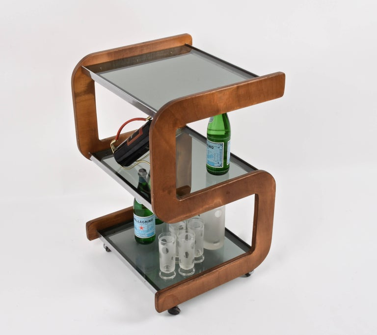 Midcentury Smoked Glass Shelves, Steel and Wood Italian Bar Trolley, 1970s For Sale 8