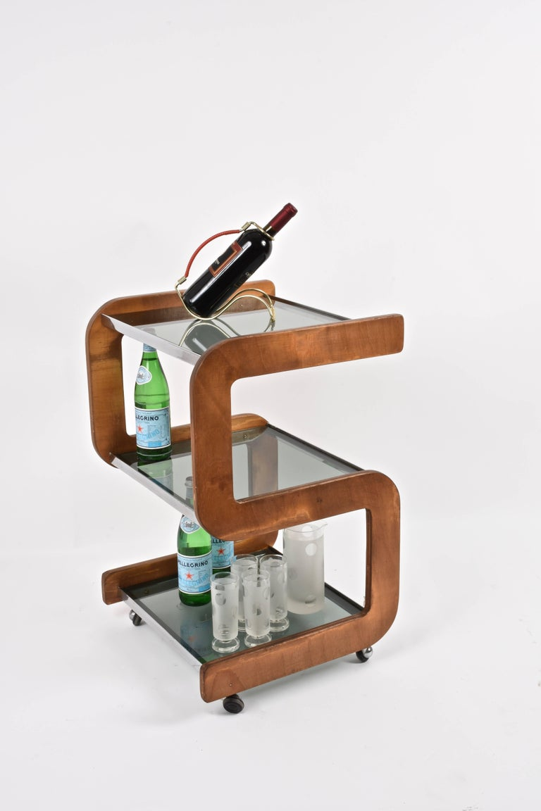 Midcentury Smoked Glass Shelves, Steel and Wood Italian Bar Trolley, 1970s For Sale 9