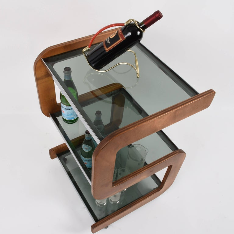 Midcentury Smoked Glass Shelves, Steel and Wood Italian Bar Trolley, 1970s For Sale 10