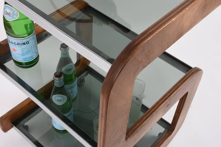 Midcentury Smoked Glass Shelves, Steel and Wood Italian Bar Trolley, 1970s For Sale 11