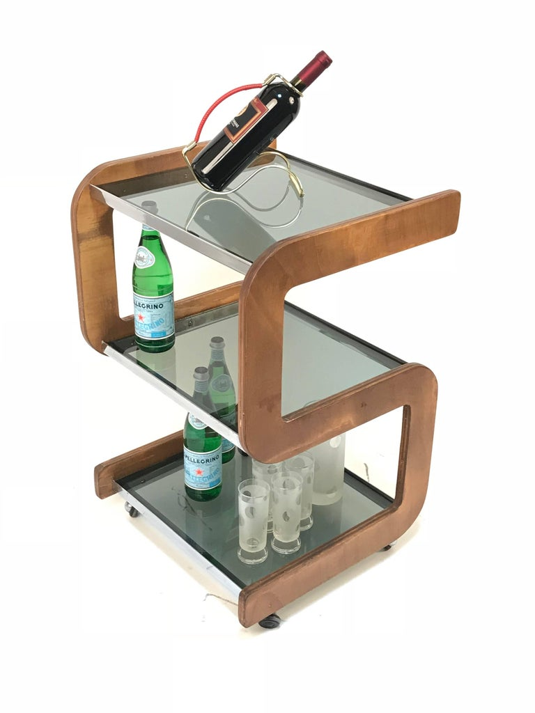 Midcentury Smoked Glass Shelves, Steel and Wood Italian Bar Trolley, 1970s For Sale 12