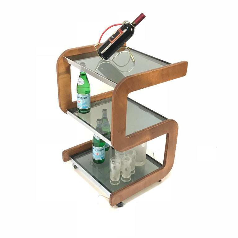 Midcentury Smoked Glass Shelves, Steel and Wood Italian Bar Trolley, 1970s For Sale 13