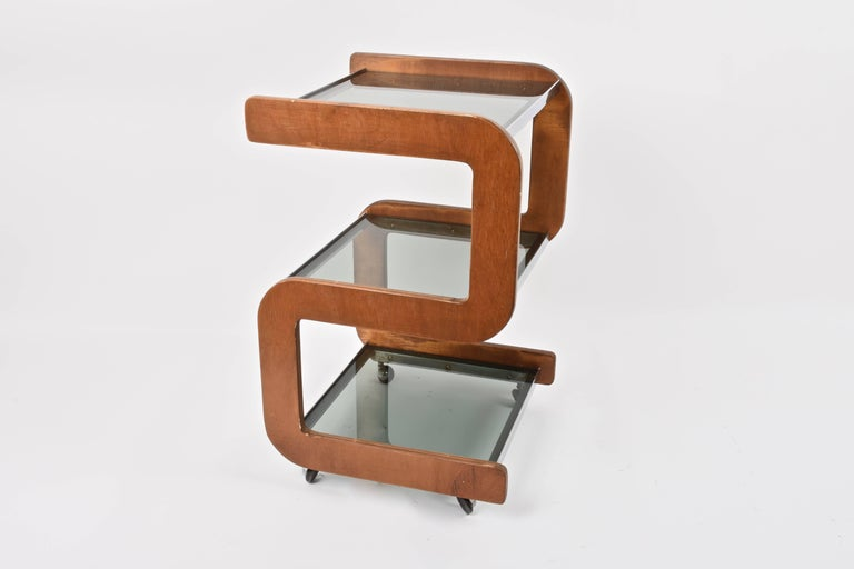 Wonderful midcentury smoked glass shelves, steel and wood bar trolley. This rare cart bar was produced in Italy during 1970s.  This piece is unique as its S-shaped wooden structure has smoked shelves with chrome finishing in between. The final