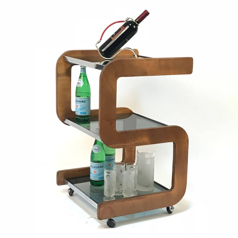 Mid-Century Modern Midcentury Smoked Glass Shelves, Steel and Wood Italian Bar Trolley, 1970s For Sale
