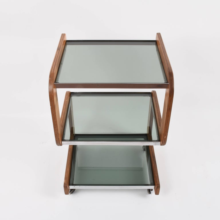 20th Century Midcentury Smoked Glass Shelves, Steel and Wood Italian Bar Trolley, 1970s For Sale