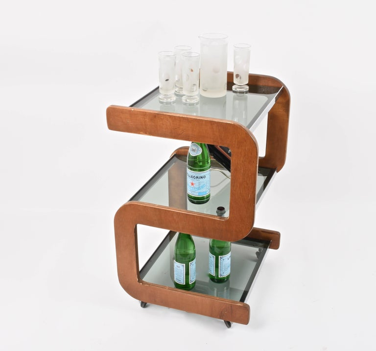 Midcentury Smoked Glass Shelves, Steel and Wood Italian Bar Trolley, 1970s For Sale 1