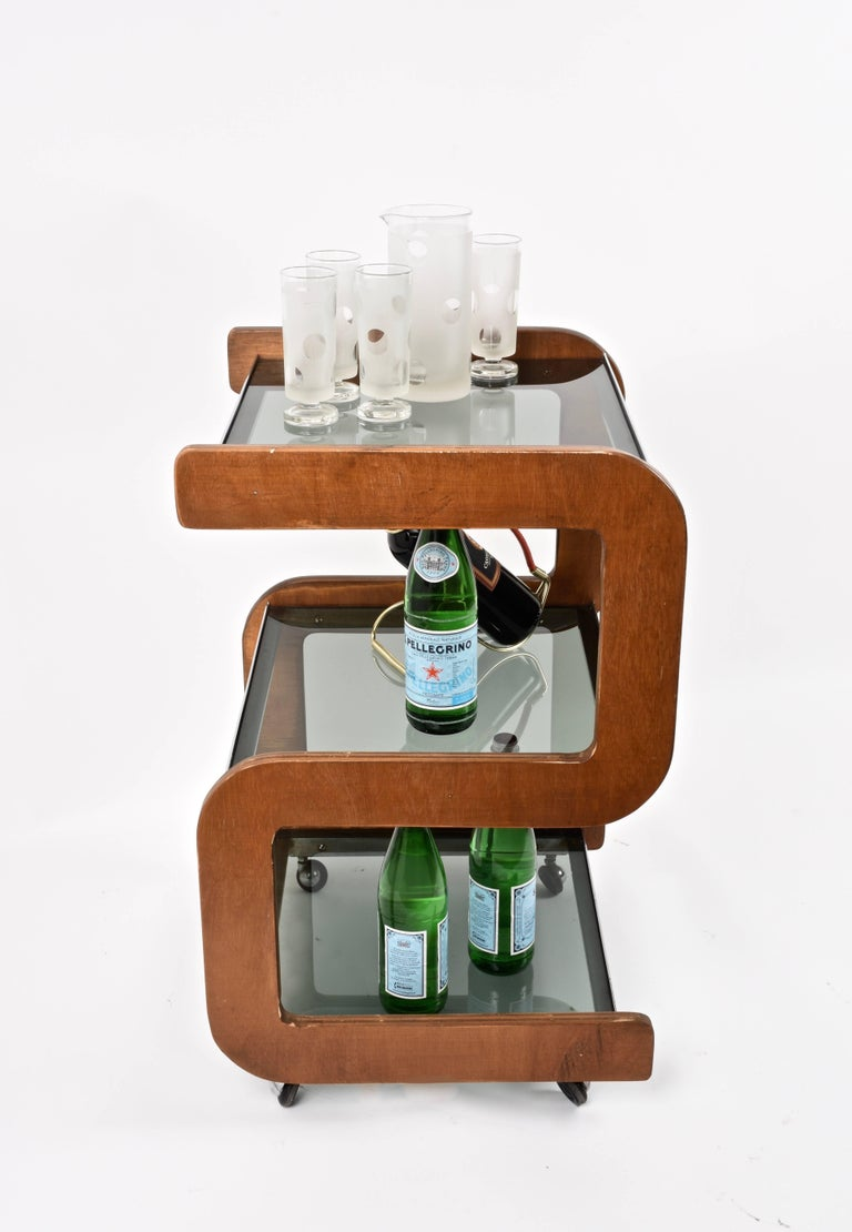 Midcentury Smoked Glass Shelves, Steel and Wood Italian Bar Trolley, 1970s For Sale 2
