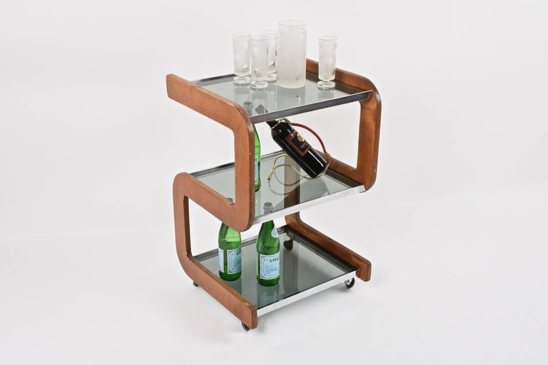 Midcentury Smoked Glass Shelves, Steel and Wood Italian Bar Trolley, 1970s For Sale 3