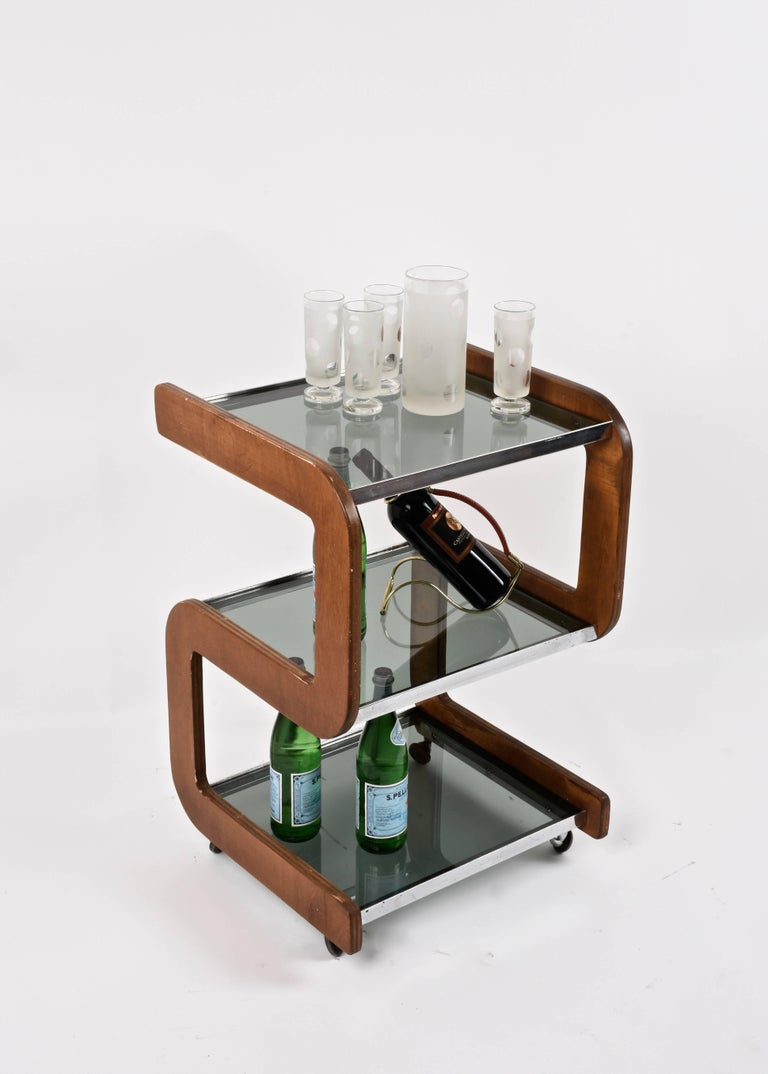 Midcentury Smoked Glass Shelves, Steel and Wood Italian Bar Trolley, 1970s For Sale 4