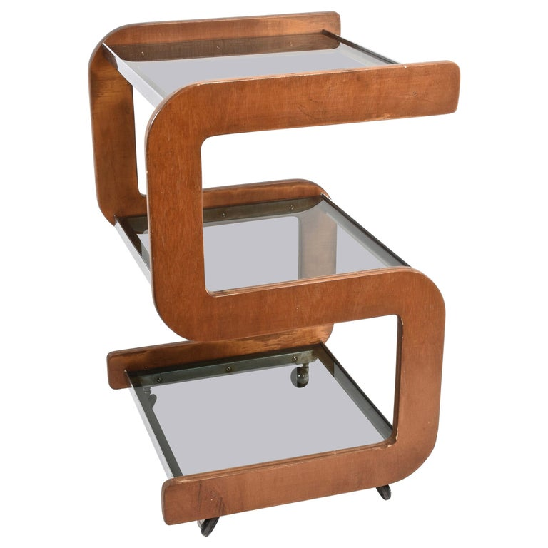 Midcentury Smoked Glass Shelves, Steel and Wood Italian Bar Trolley, 1970s For Sale