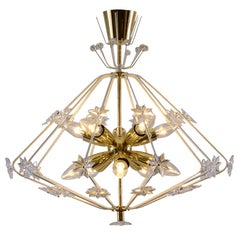"Midcentury modern ""Snowflake"" handcrafted Chandelier"