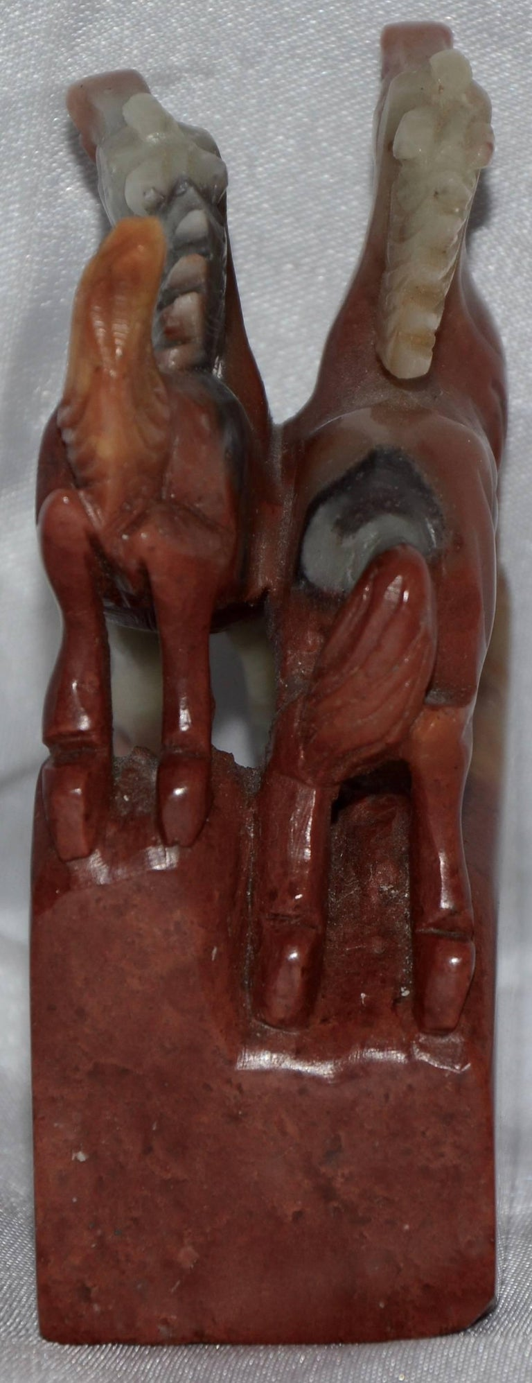 Chinese Export Soapstone Stamp Statue of Rearing Horses For Sale