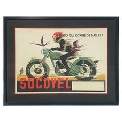 Midcentury Socovel Motorcyle Poster framed