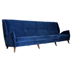 Sofa attributed to Gio Ponti for Isa Bergamo in Blue Velvet, Restored 1950s