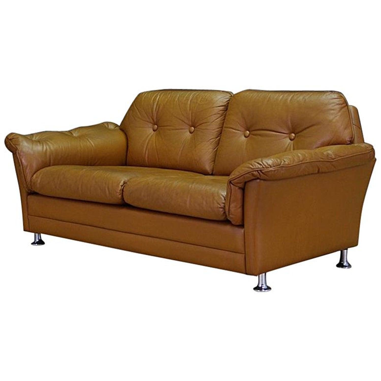Midcentury Sofa Classic Leather Danish Design