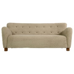 Midcentury Sofa, Denmark 1950s, Teddy Fur & Tufted Leather, Mogens Lassen Style