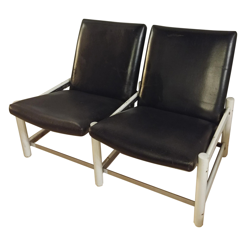 Mid Century Sofa Black Leather Metal by Dal Vera 2-Seat Italian Design 1950s